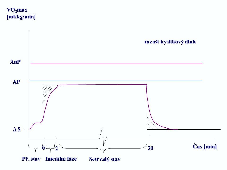 VO2max [ml/kg/min] menší kyslíkový dluh. AnP. AP. 3.5. Čas [min] 2. 30. Př. stav. Iniciální fáze.